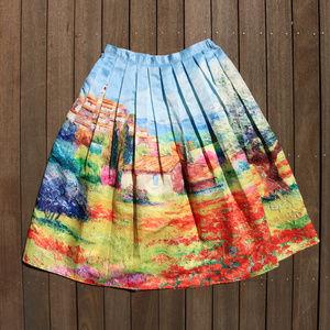 Impressionist   Oil Painting Pleated Midi Skirt